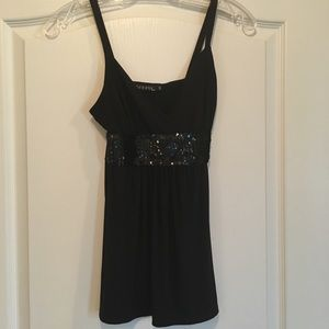 Black Sequin George top